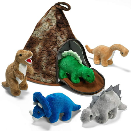 Prextex dinosaur volcano house with 5 plush dinosaurs great christmas gift for kids](Dinosaur Plush Toy)