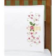 Herrschners®  Flower Basket Pillowcase Pair Stamped Embroidery