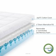 LUCID Hybrid Down Alternative + Gel-Infused Memory Foam Mattress Topper - Queen