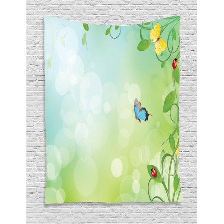 Butterfly Tapestry Wall Hanging - Butterfly Tapestry Wall Hanging Spring Theme with Flowers Ladybugs and Butterflies Transformation Morph Print, Bedroom Living Room Dorm Decor, Light Green, by Ambesonne