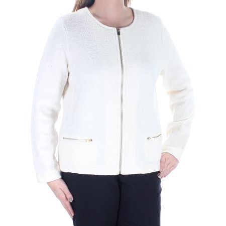 CHARTER CLUB Womens Ivory Zippered Long Sleeve Jewel Neck Sweater  Size: L