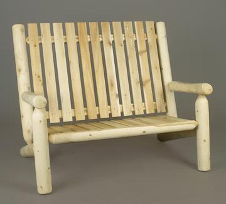 "46"" Natural Cedar Log Style Outdoor Wooden Double High Back Adirondack Bench"