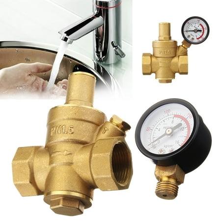 Adjusts Water - DN20 3/4'' Water Pressure Reducing Valve& Gauge Regulator Reducer Adjust Brass