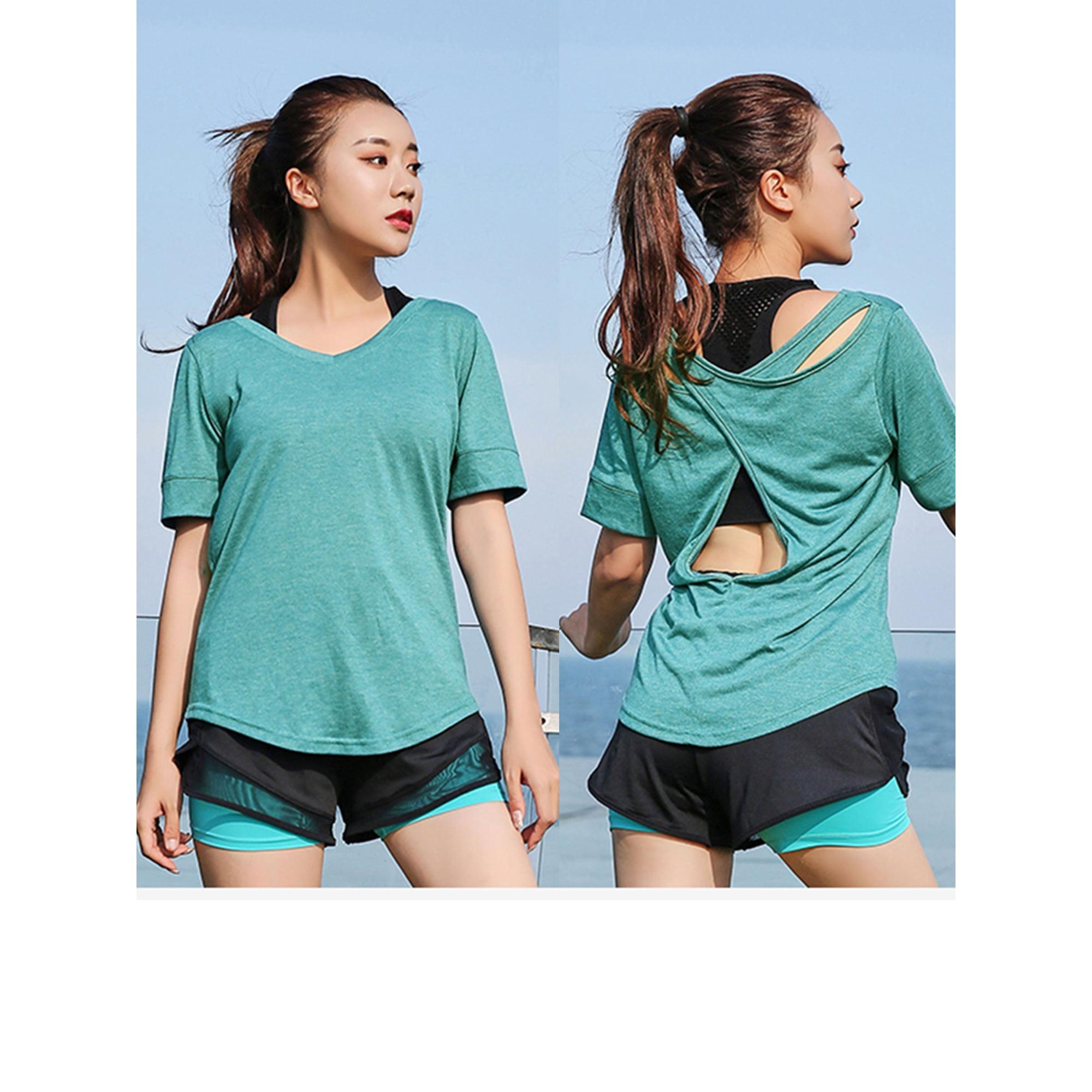 Women's Activewear Short Sleeve Yoga T-Shirt Tops Activewear Running Open  Back Sports Yoga Shirts | Walmart Canada