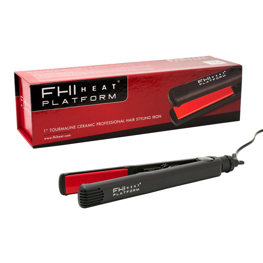 "FHI Heat Platform 1"" Tourmaline Ceramic Hair Styling Hot Iron, BLACK, FIRN7001-BLK"