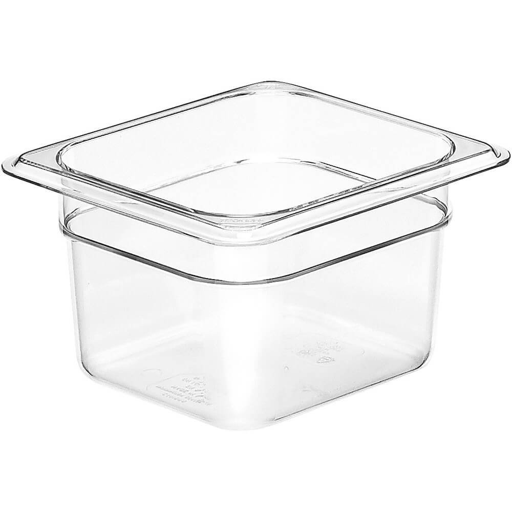 "64CW135 Camwear Food Pan plastic 1/6-size 4""D clear - Case of 6, 12 By Cambro"