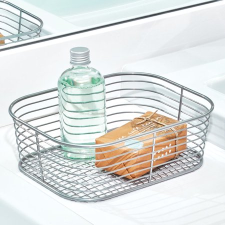 iDesign Vienna Vanity Basket in Silver, Small - Baskets In Bulk