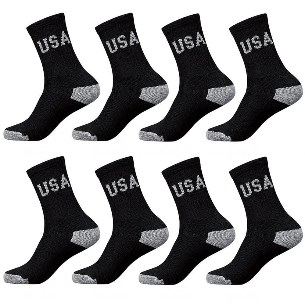 8 Pairs Usa CREW Mens Solid Sports Socks Cotton 10-13 Black Athletic Long Tube