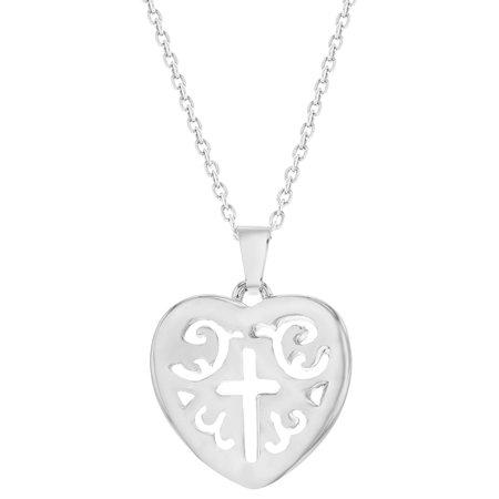 """Plaqué Rhodium croix de coeur collier pendentif Médaille religieuse 19"""" - image 5 de 5"""