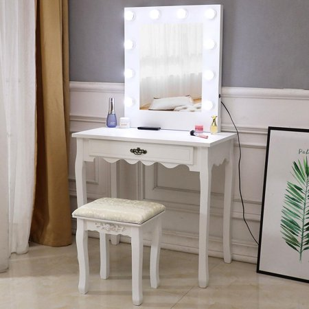 Ktaxon Makeup Vanity Table Set and Cushioned Stool,Wooden Dressing Table w/10 LED Lights Square Mirror for Bedroom, White Wenge Vanity Set