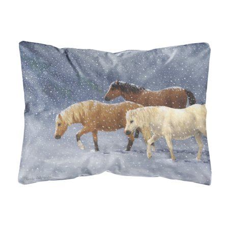 Seeking Shelter Horses Fabric Decorative Pillow