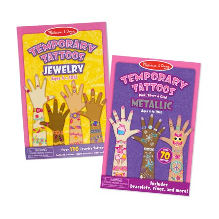 Melissa & Doug Press-On Temporary tattoos for Kids 2 Pack – Jewelry, Metallic](Temporary Kids Tattoos)