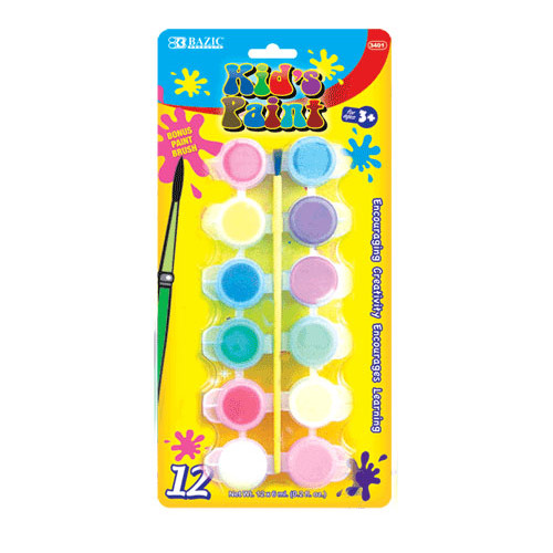 Bazic 12 Color Kid's Paint Set