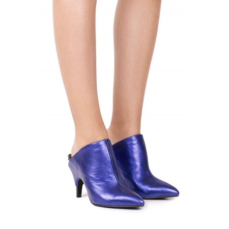 Jeffrey Campbell Kilkunis Blue Metallic Cut Out Wrapped Heel Slip On Mule Heels -