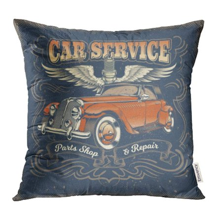- ARHOME Classic Vintage Red Retro Car in Engraving Style Service Center Spare Parts Pillowcase Cushion Cover 20x20 inch