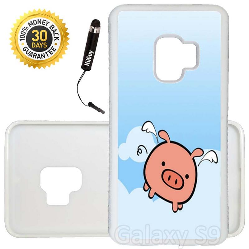 Custom Galaxy S9 Case (Cute Flying Pig Animal) Edge-to-Edge Rubber White Cover Ultra Slim | Lightweight | Includes Stylus Pen by Innosub