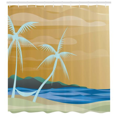 Beach Shower Curtain Ilration Of