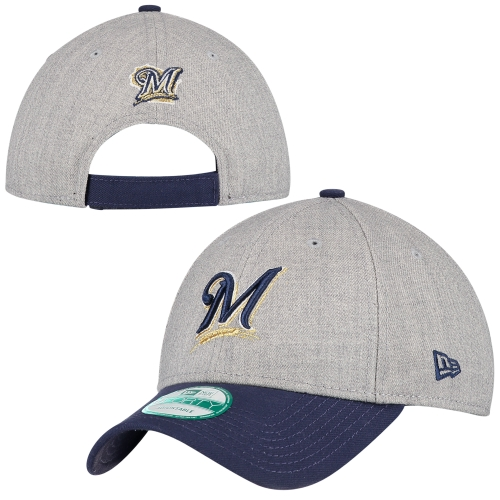 Milwaukee Brewers New Era Heathered 9FORTY Adjustable Hat - Heather Gray - OSFA