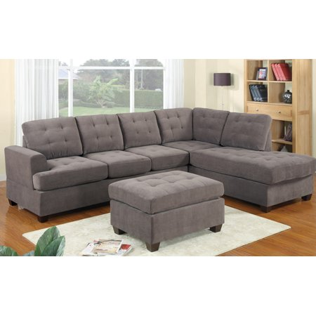 2 Piece Modern Reversible Grey Tufted Microfiber Sectional Sofa with Ottoman ()