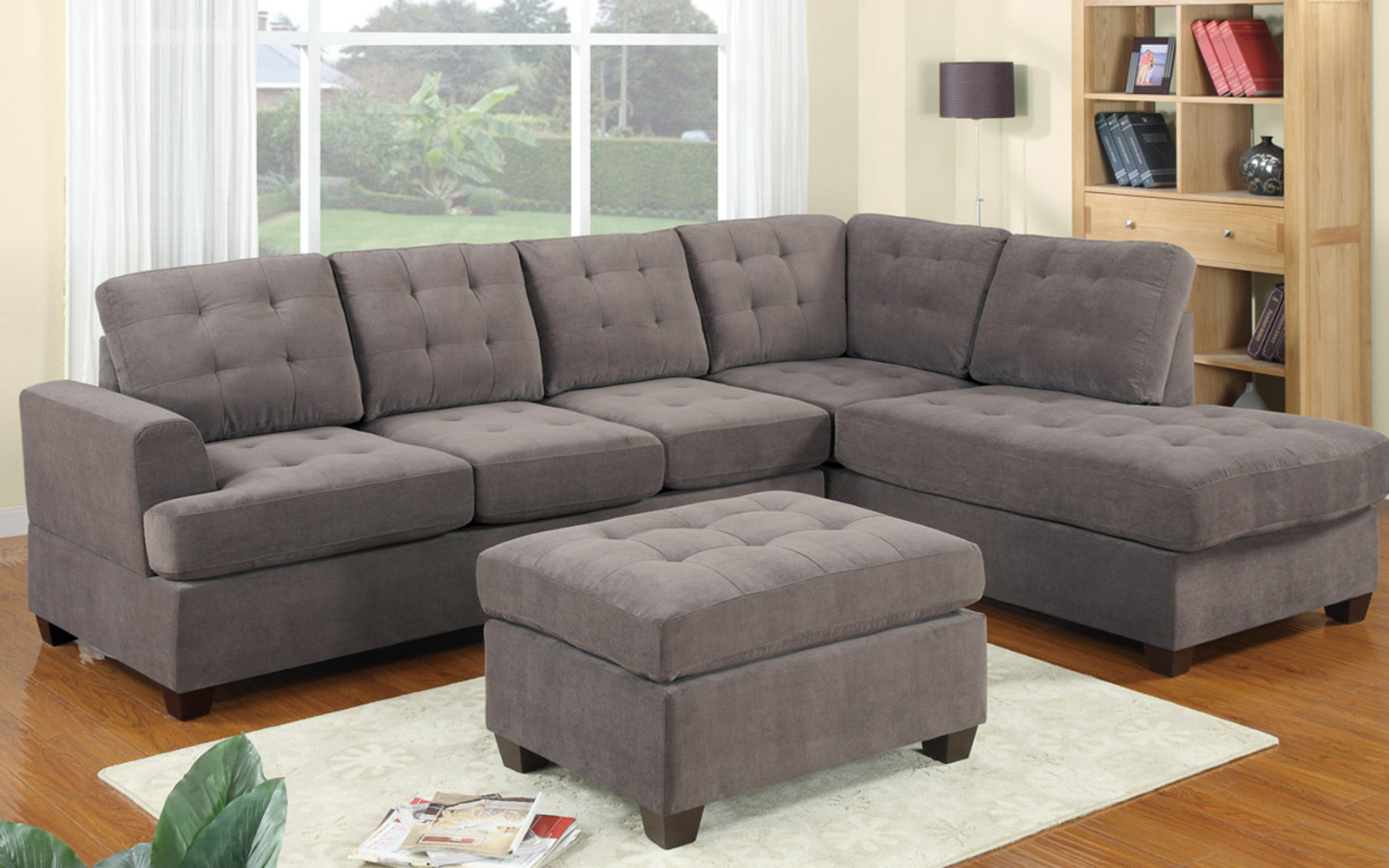 2 Piece Modern Reversible Grey Tufted Microfiber Sectional Sofa With Ottoman