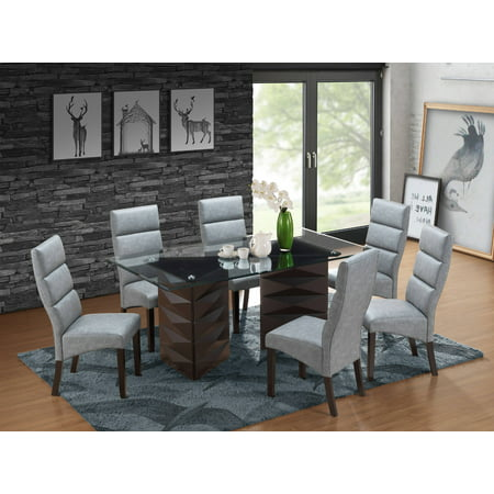 Olivia 7 Piece Dining Set, Cappuccino Wood & Gray Faux Leather, Transitional, 71