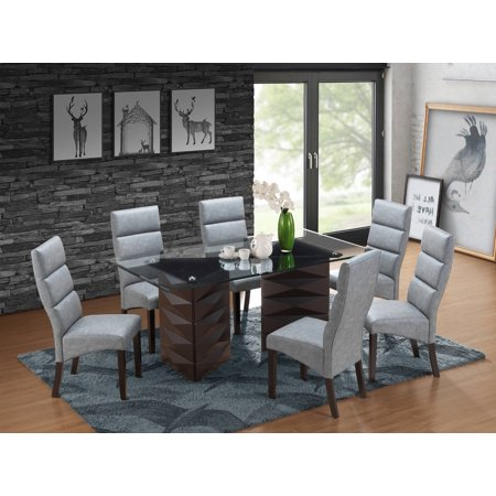 Birch Dining Room Side Table - Olivia 7 Piece Cappuccino Wood & Glass Transitional 71