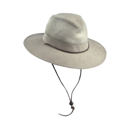 b0759b1e6aabb Dorfman Pacific Men s Cotton Wide Brim Mesh Safari Hat - Walmart.com