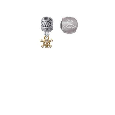 Goldtone Mini Skull & Bones with Crystals Joy to the World Charm Beads (Set of 2)