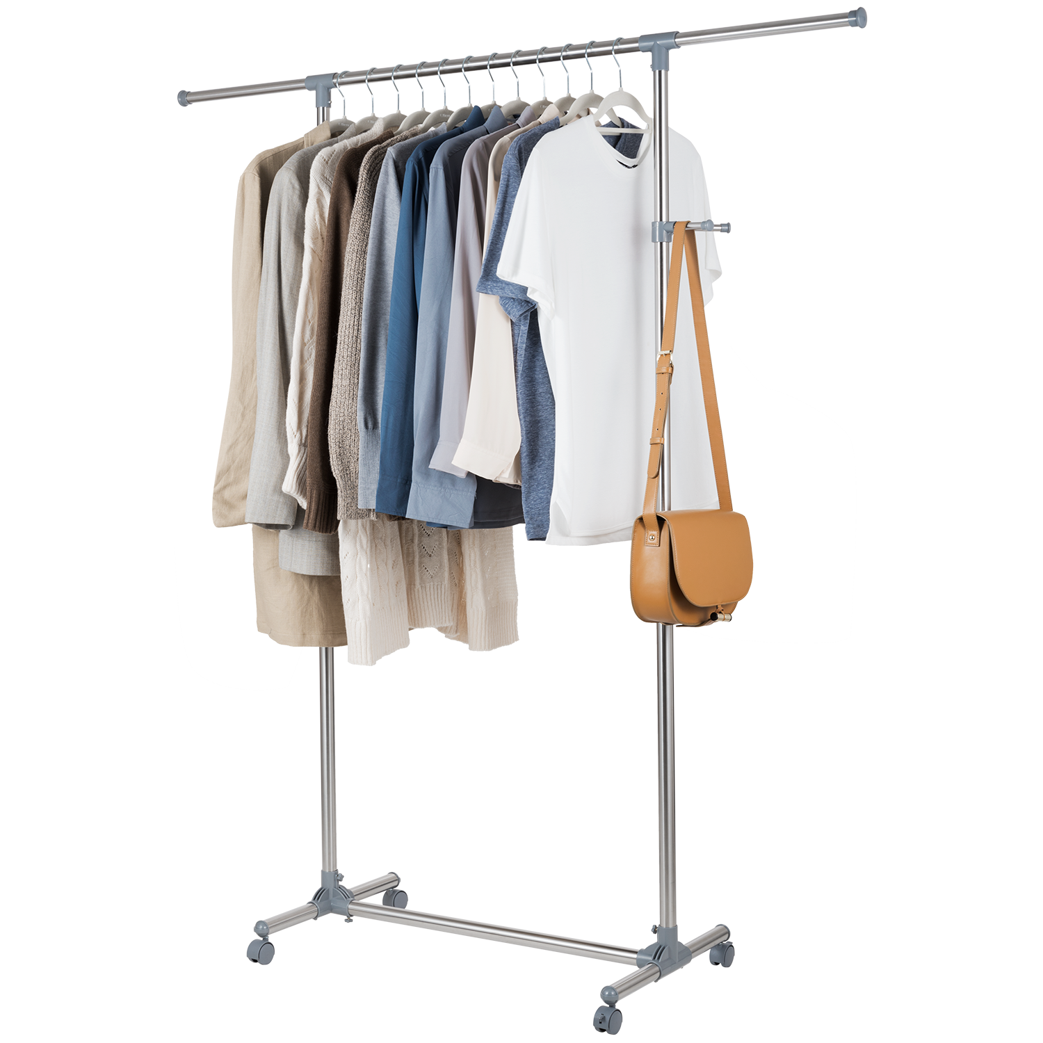 Rolling Tire Storage Rack >> Allieroo Stainless Steel Adjustable Rolling Garment Rack Portable Clothes Hanger Single Rail ...