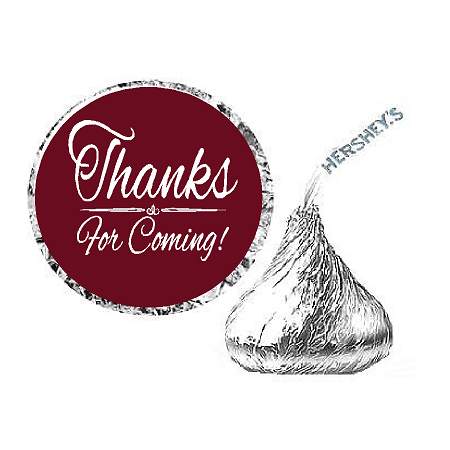 216ct Burgundy Thanks for Coming Party Favor Hersheys Kisses Candy Decoration Stickers / Labels](Party Favor Labels)