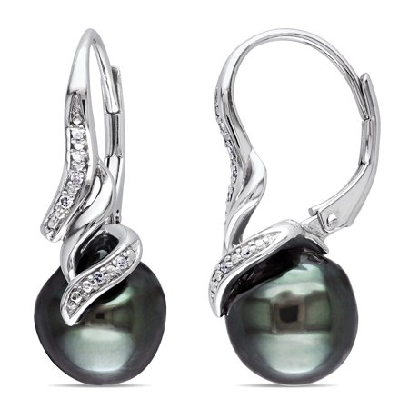 Sterling Silver Tahitian Pearl and Diamond Accent Drop Leverback Earrings (9 - 9.5mm) - White