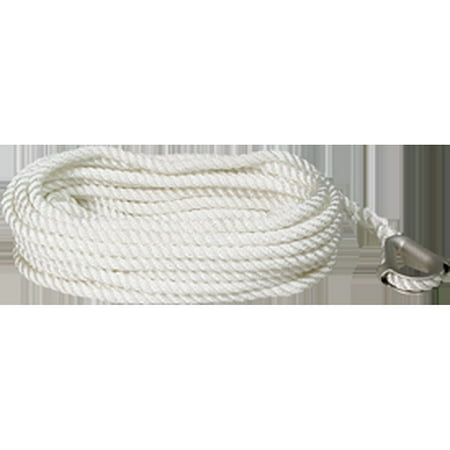 "SeaSense Three-Strand Twisted Nylon Anchor Line with Thimble End, 3/8"" x 100"