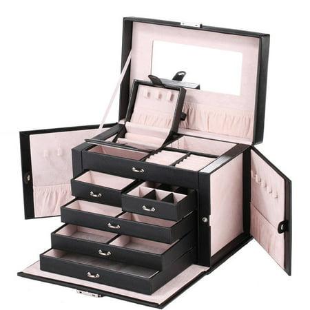 Multi Layers Large Leather Jewelry Box Case Storage Lock