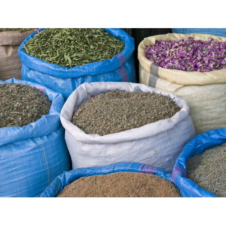 Dried Flowers and Herbs for Sale in Souk, Medina, Marrakech (Marrakesh), Morocco, North Africa Print Wall Art By Nico