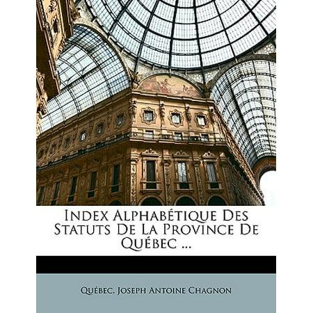 Index Alphabtique Des Statuts de La Province de Quebec - Aquarium De Quebec Halloween