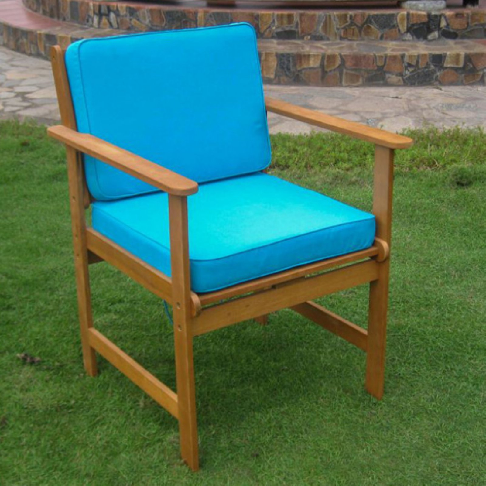 International Caravan Royal Tahiti Gulf Port Patio Dining Chair with Cushions - Set of 2