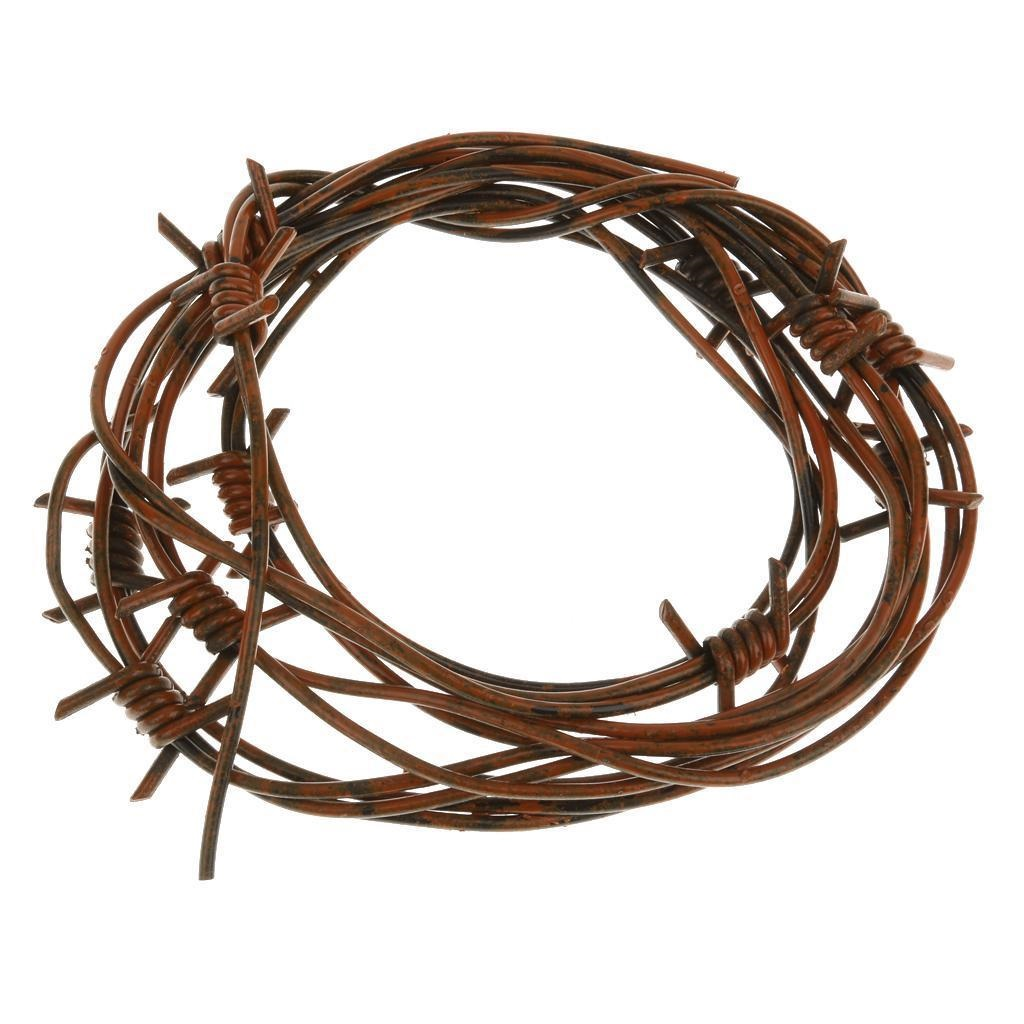 8' Fake Rusted Barbed Barb Wire Halloween Decoration Rusty Wire Prop Garland