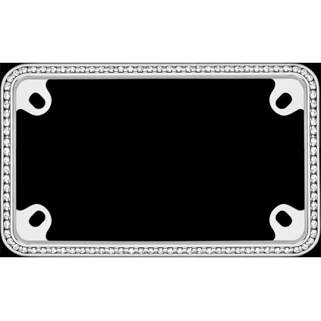 Motorcycle License Plate Frame Diamondesque, Chrome With Clear - image 1 of 1
