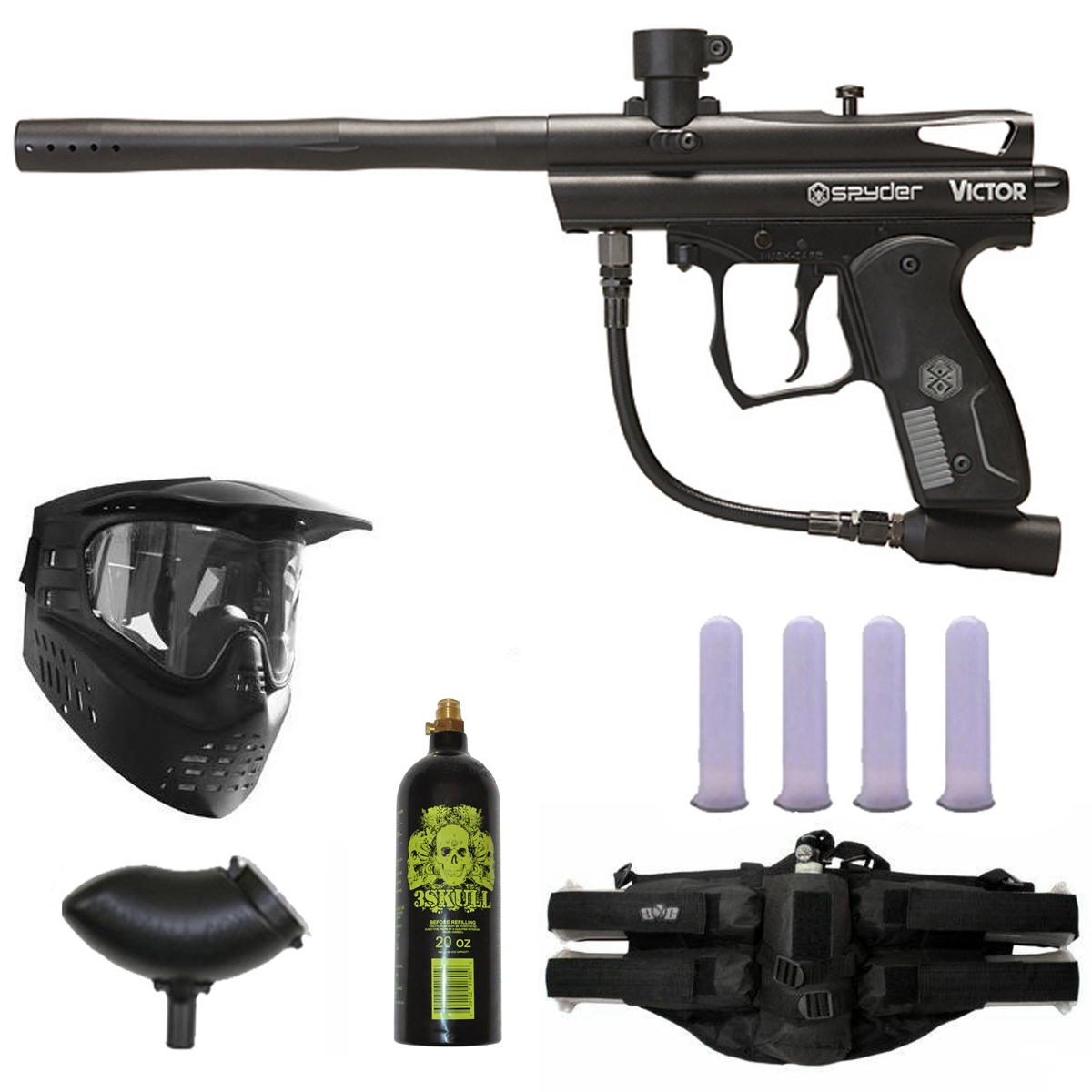 Spyder Victor Paintball Gun Marker GXG 4+1 Gun Package by