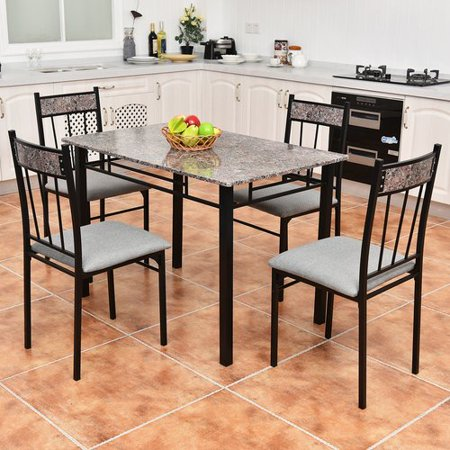 Costway 5 Piece Faux Marble Dining Set Table And 4 Chairs Kitchen