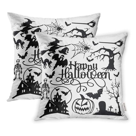 USART Skull Spooky Halloween Cut Silhouette Bat Broom Cat Cemetry Ghost Graveyard Hat Pillowcase Cushion Cover 18x18 inch, Set of 2