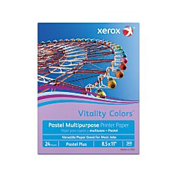 Xerox 500 Sheet Media (Xerox® Vitality Colors™ Pastel Plus Multipurpose Printer Paper, Letter Size, 24 Lb, 30% Recycled, Lilac, Ream Of 500 Sheets )