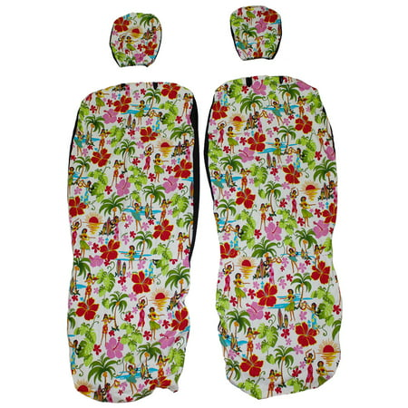 Hawaii Hula Girls Set of 2 Front Bucket Seat Covers. Hawaiian Car Seat Covers with Separated Headrest. Color White