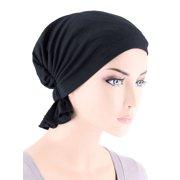 Turban Plus The Abbey Cap ® Womens Chemo Hat Beanie Scarf Turban for Cancer Cotton Raven Black
