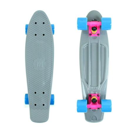 Mayhem Penny Style Skateboard Grey Pink Blue 22  Cruiser Board