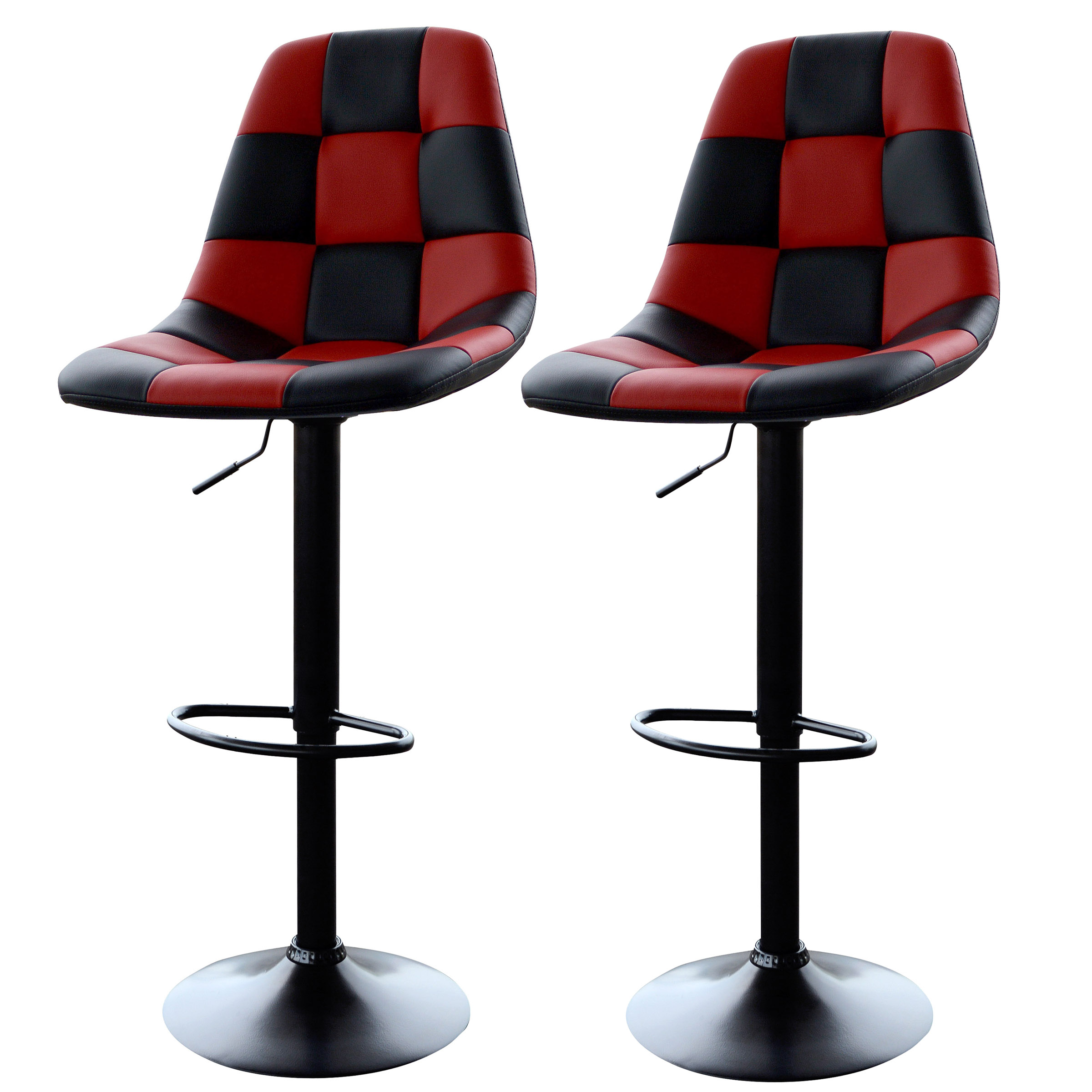 2 Piece Red Checkered Racing Adjustable Bar Chairs Game