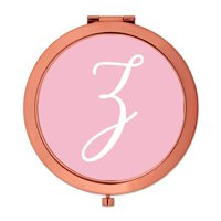 Andaz Press Rose Gold Compact Mirror Bridesmaid's Wedding Gift, Blush Pink, Monogram Letter Z, 1-Pack