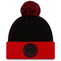Detroit Pistons New Era Cuffed Knit Hat with Pom - Black/Red - OSFA
