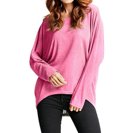 9c9920692 ZANZEA - Women s Batwing Sleeve Loose Knitted Blouses - Walmart.com