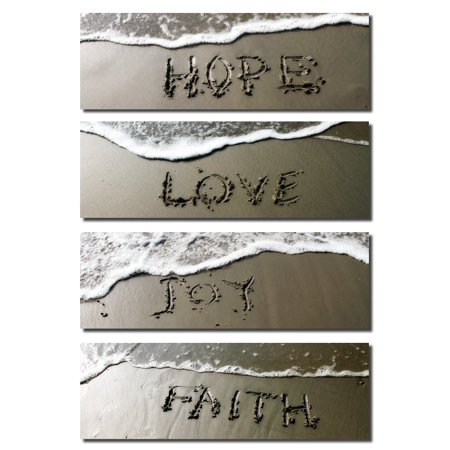 Love Hope Joy and Faith Hand Written in the Wet Sand: Four 18x6in Photographs